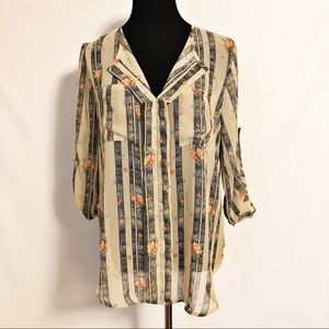 JUST IN Taupe Stripe Floral Chiffon Blouse NWT Lg